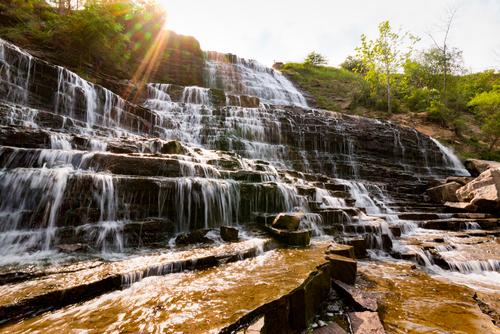 Albion Falls Cascading Waterfall in Hamilton, Ontario, Canada