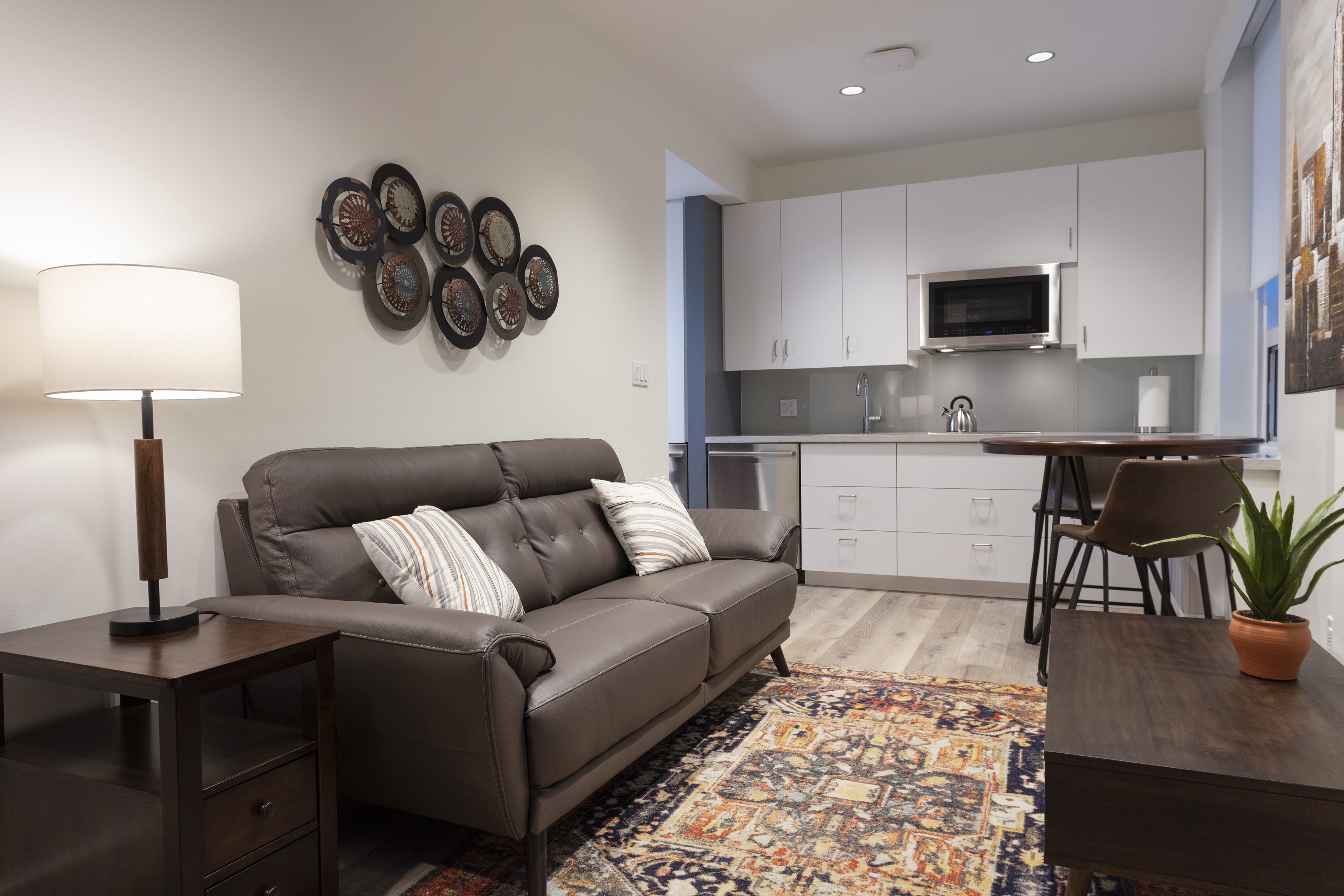 The Mulberry living room and kitchenette
